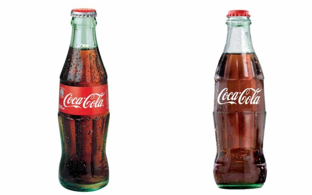 Cambio en el diseño de las botellas de vidrio de Coca-cola