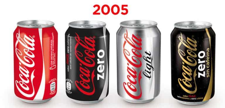 Diseño de las latas de Coca-Cola en 2005
