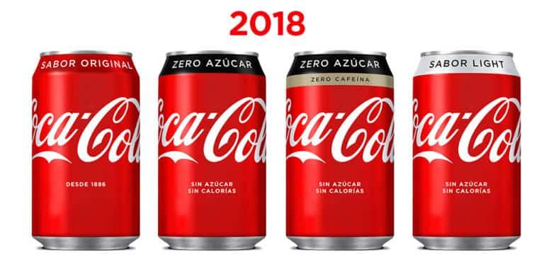 Diseño de las latas de Coca-cola en 2018