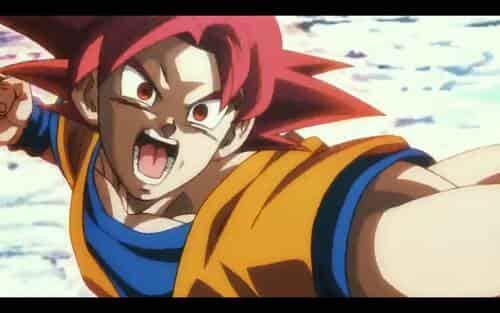 Goku con pelo rojo Super Saiyan God