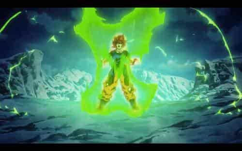 El Ki de Goku se vuelve verde al transformarse en Super Saiyan Blue