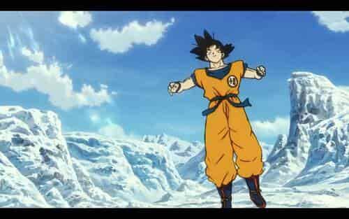 Escena de Goku en la nieve en Dragon Ball Super Broly