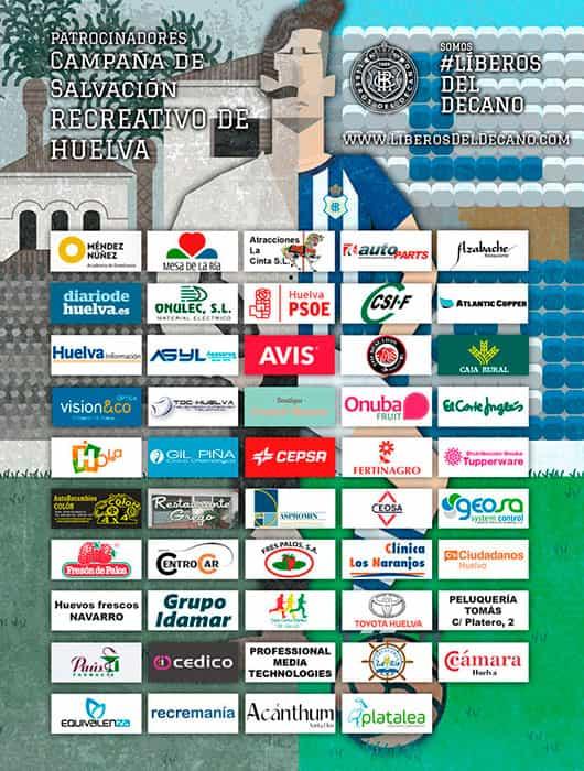 Página completa de periódico con las empresas que apoyaron en la campaña de salvación del Recreativo de Huelva