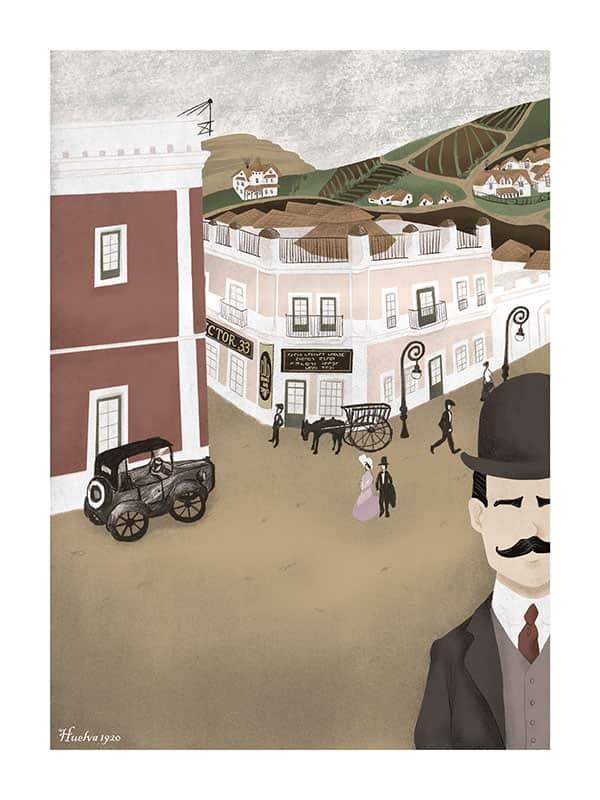 Ilustración que refleja una estampa típica de Huelva en 1920