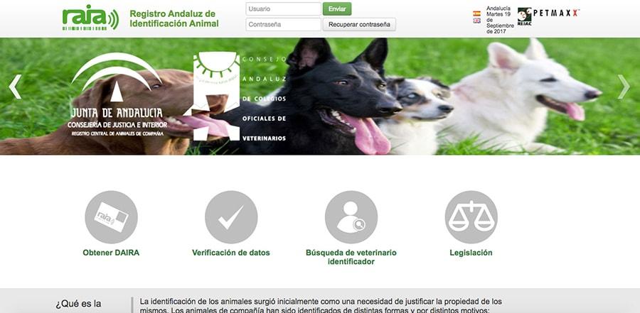 Plataforma digital del Registro Andaluz de Identificación Animal