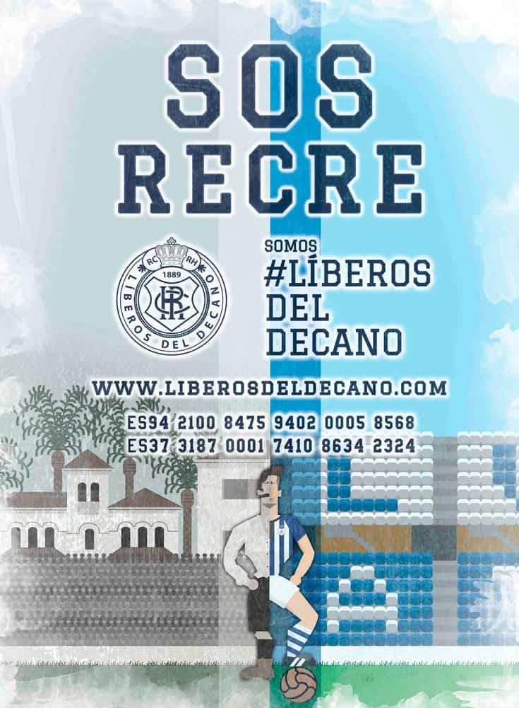 Cartel con cuentas bancarias en la campaña de salvación Líberos del Decano