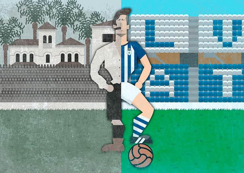 Dibujo de un líbero, campaña de salvación del Recreativo de Huelva