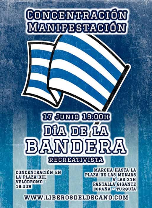 Cartel de la manifestación en la campaña de salvación del Recreativo de Huelva