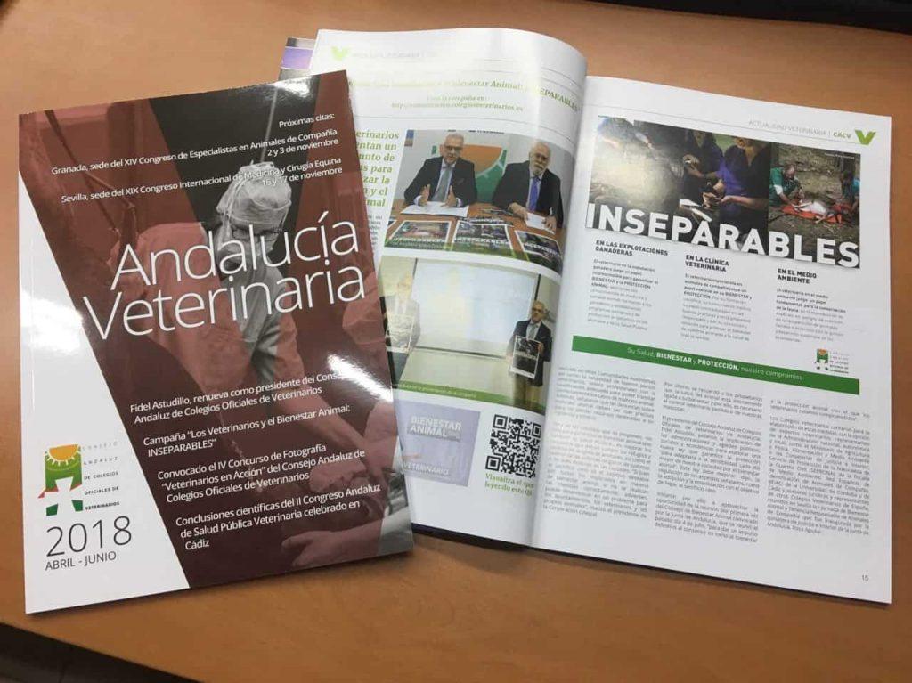 Maquetación editorial y diseño de la revista realizada por el Consejo Andaluz de Colegios Oficiales de Veterinarios