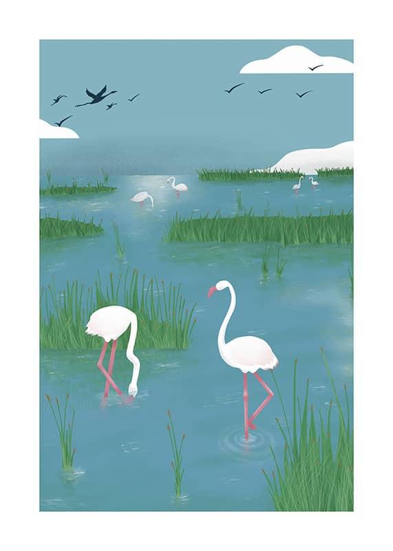 Dibujo sobre las marismas y entorno natural de Huelva