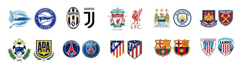 Evolución de algunos escudos de fútbol